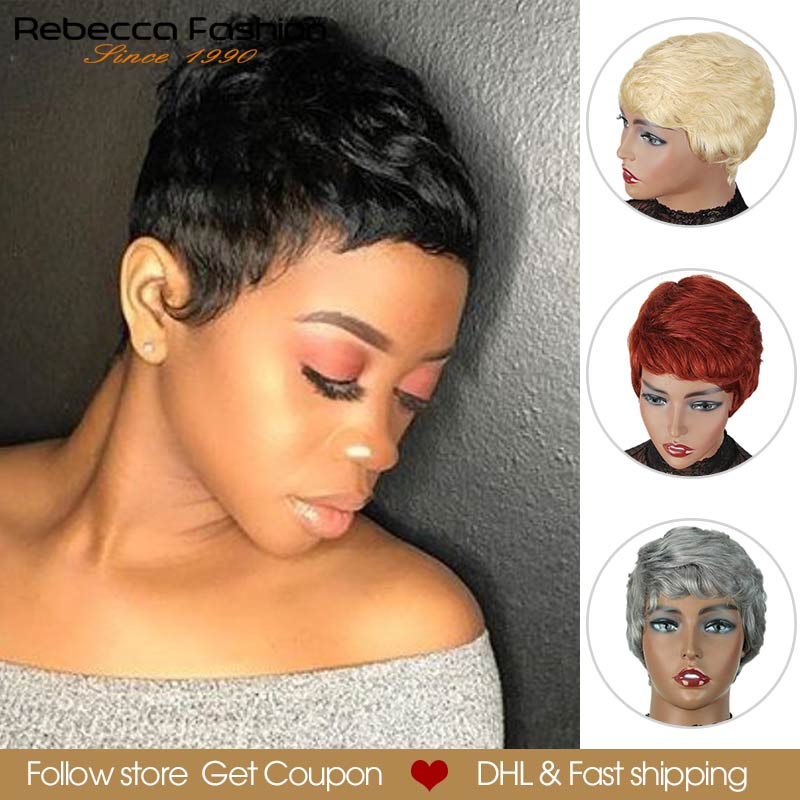 Rebecca Short Cute Pixie Cut Wigs Straight Hair Peruvian Remy Human Hair Wig For Women Full Wig Black Red Grey DHL Fast Shipping