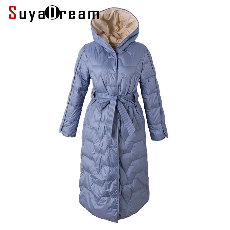 SuyaDream Women Hooded   Down     Coats   Solid Quilted Long Warm Parkas 2019 Winter Long Outwear