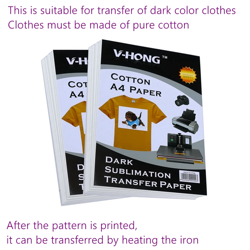 Heat-reduced Photo Sublimation Paper Cotton Fabric A4 Size Inkjet Print Lron-on Transfer Paper Dark T-shirt Heat Transfer Paper