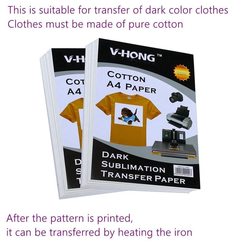 Isı azaltılmış fotoğraf süblimasyon kağıdı pamuklu kumaş A4 boyutu mürekkep püskürtmeli baskı demir-on transfer kağıdı koyu T-shirt isı transfer kağıdı