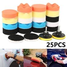 3inch Car Polishing Disc 25Pcs/Set Self Adhesive Buffing Waxing Sponge Wool Wheel Polishing Pad for Car Polisher Drill Adapter