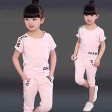 Summer 2021 Girls Clothes Sets Outfits Kids Baby Short Sweatshirt + Pants Fashion Children Clothing Suits 3 5 6 7 8 10 12 Years