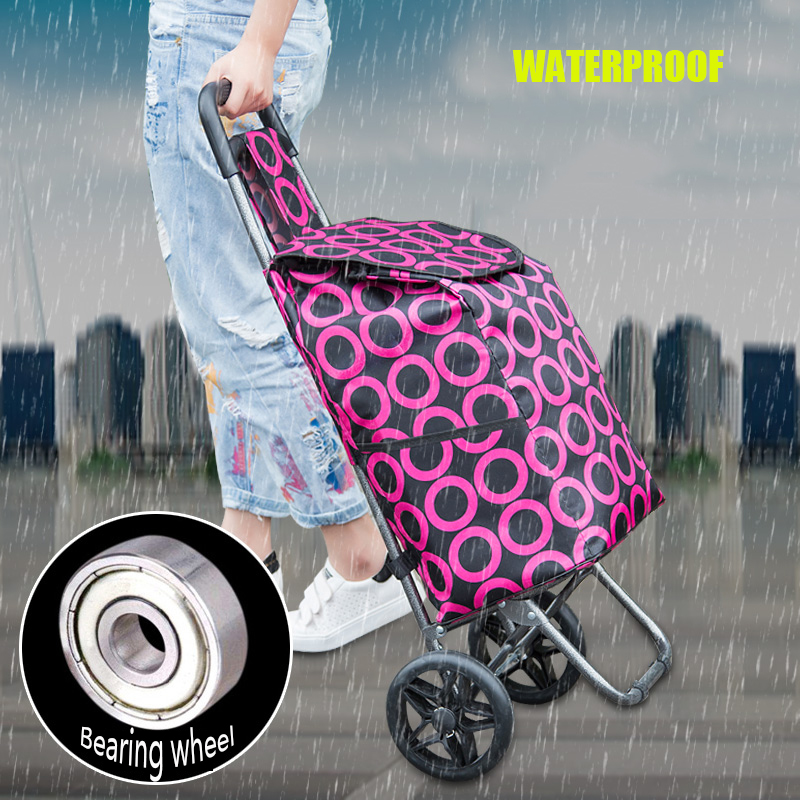 Shopping Cart Folding Portable Grocery Cart Luggage Cart Trolley Trailer Small Hand Cart Home Elderly