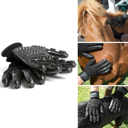 1 Pair Grooming Glove for Cats Soft Rubber Pet Hair Remover Dog Horse Cat Shedding Bathing Massage Brush Clean Comb for Animals(China)