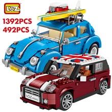 לוז טכני מיני אבני בניין רכב Assemable צעצועים חינוכיים לילדים חיפושית Creatored משטרת משאית רכב צעצועי לבנים