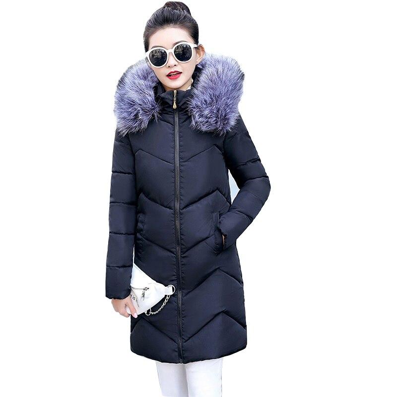 Winter Women's Down Jacket Casual Cotton Women's Winter Jacket Hoodie Long Parkas Women Fur Collar Warm Female Jacket Coat