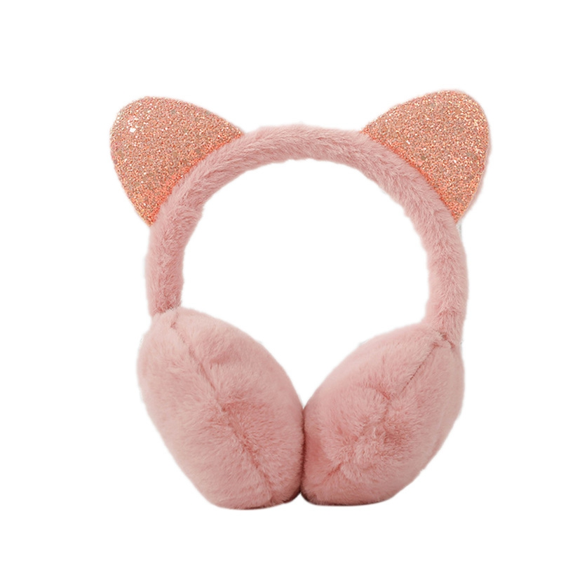Ladies Winter Warm Cute Earmuffs Outdoor Earmuffs Creative New Sequins Cat Ears Plush Children Warm Earmuffs Winter Cold Student