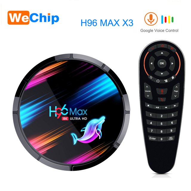 H96 MAX X3 Android 9,0 TV Box Amlogic S905X3 Quad core 2,4G & 5G Wifi Bluetooth 1000M LAN 8K H96MAX Unterstützung Stimme remote Media Box