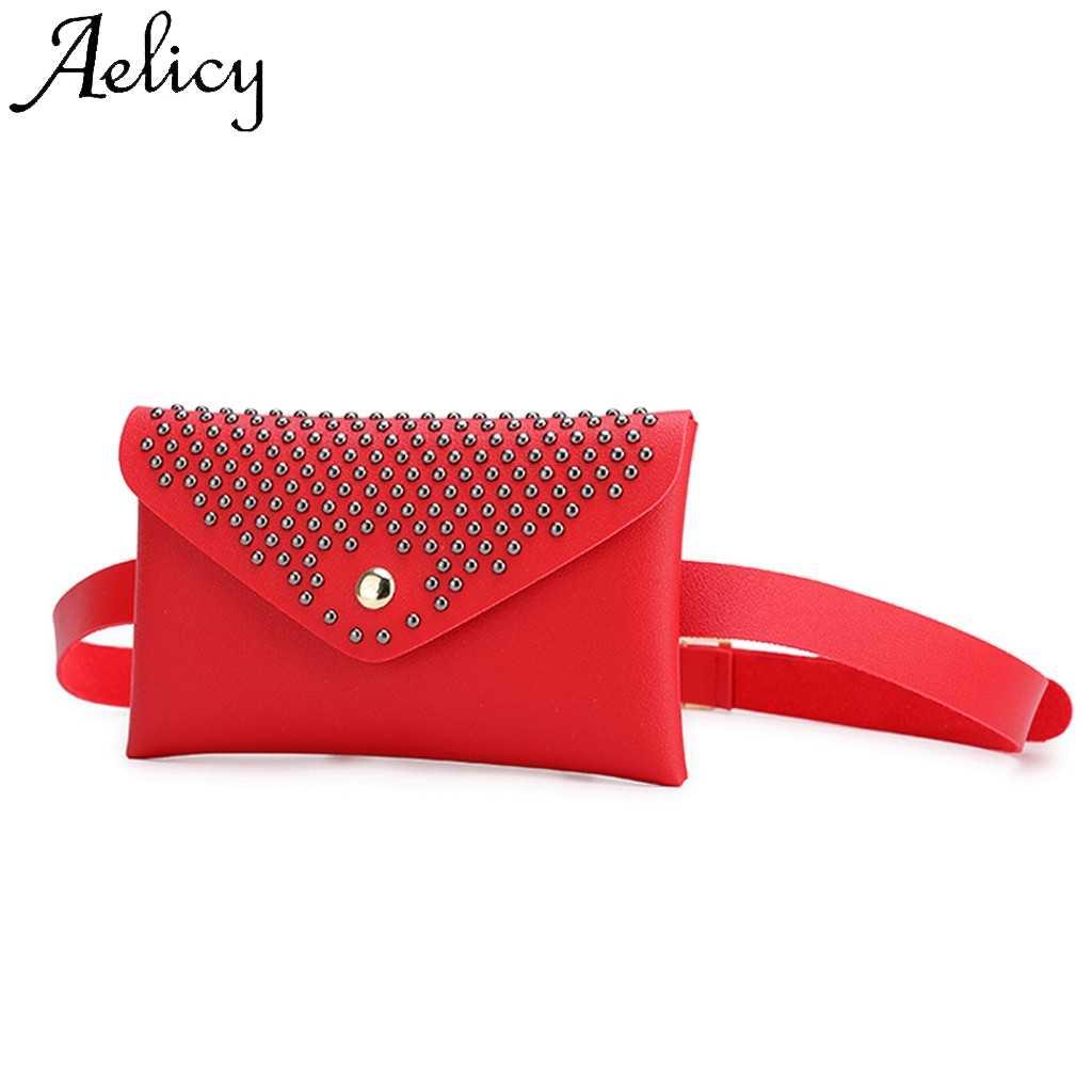 Moda kadın açık perçin Hasp katı renk Messenger göğüs çantası yüksek kaliteli katı çanta basit telefon cebi bel çantası