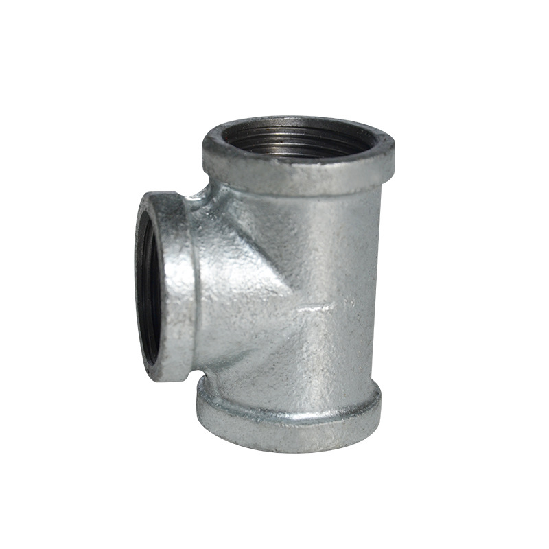 Malleable Cast Iron Pipe Fitting Hot Galvanized T-connector Firefighting Plumbing Malleable Iron Galvanized Threaded Reducing T-