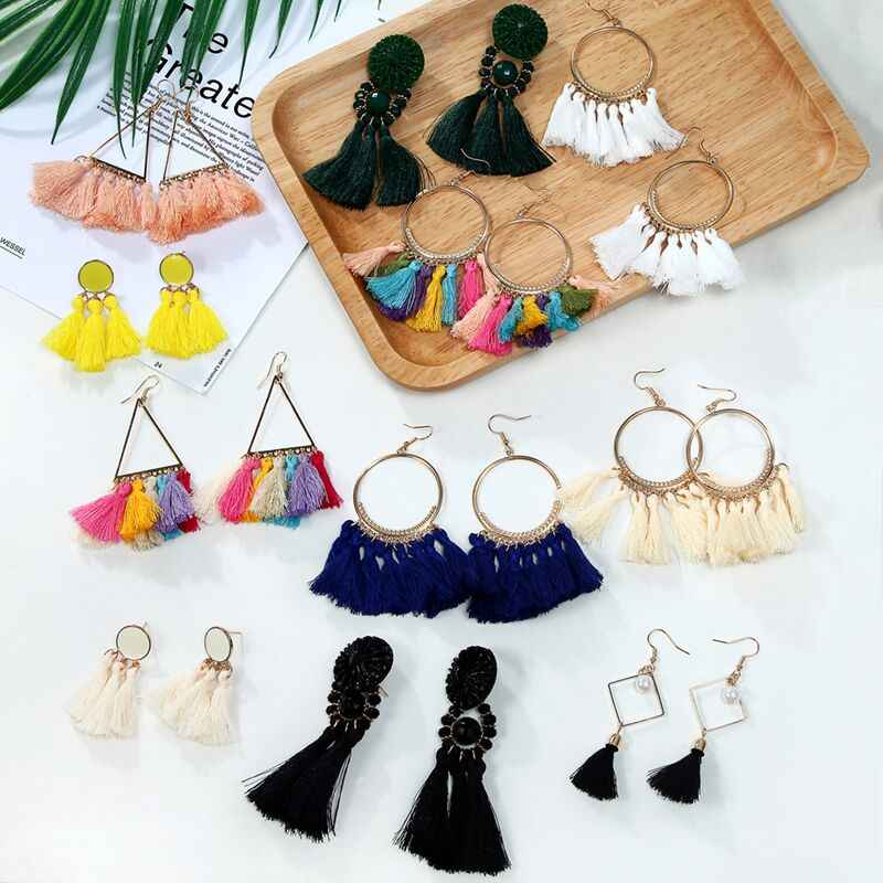 26 Style Tassel Earrings Bohemian Fringed Statement Fashion Ethnic Long Drop Dangle Earrings Female Jewelry Wholesale Price