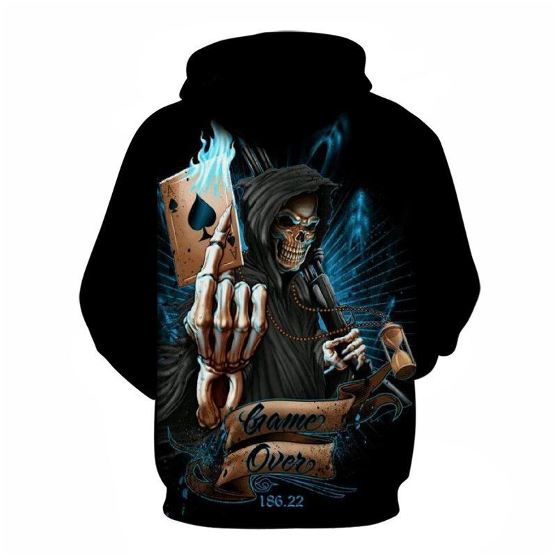 Hooded Sweatshirt Skull poker 3D Print Hoodie Pullover jacket Sweats sports