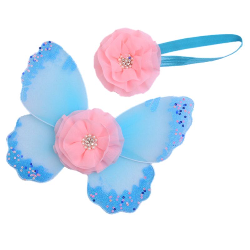 Newborn Photography Props Headband Butterfly Wings Baby Girls Boys Fairy Photo Costume Accessories Gifts E65D