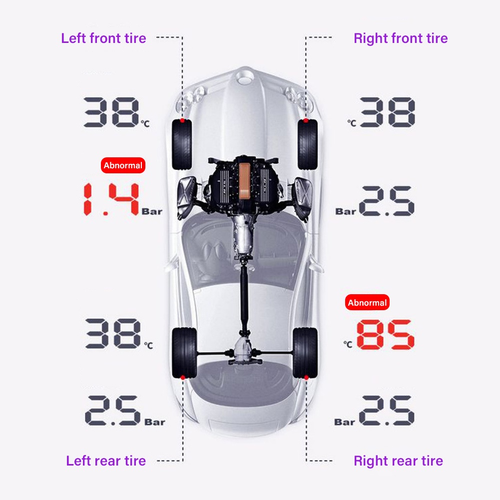 Fahrzeug reifen druck detektor Digitalen display TPMS LCD Drahtlose Auto Tire Pressure Monitoring System mit Externe Sensor Kit