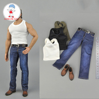 Toy center CENM08 1/6 scale Male Figure Clothes Vest Jeans Leather Shoes Set For Strong Muscle Body Figures