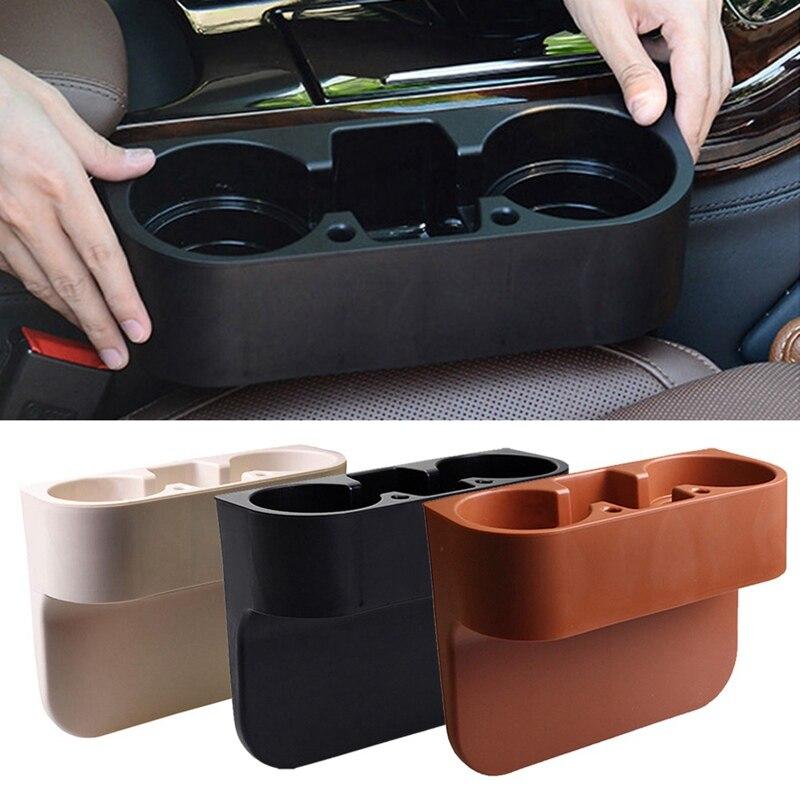 Black Car Seat Gap Slit Pocket Storage Organizer Stowing Tidying Box Holder Case Plastic Drink Racks Phone Stand