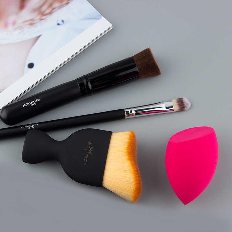 Anmor zestaw pędzli do makijażu 4 sztuk podróży rozmiar narzędzie do makijażu konturu fundacja pędzle do korektora dla podstawowe makijaż trzeba pennelli trucco