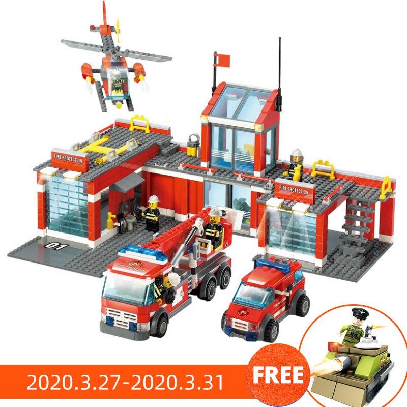 774pcs Fire Station Model Building Blocks Compatible Legoing City Construction Firefighter Truck Enlighten Bricks Toys Children