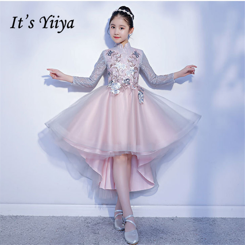 A-Line Kid Evening Dresses It's Yiiya B004 Embroidery Long Sleeve Communion Dresses High Collar Appliques Kids Dresses for Girls