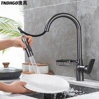Rubinetto da cucina oro/nero/grigio/argento estrarre rubinetto per lavello da cucina con ripiano rubinetto monocomando girevole miscelatore a 360 gradi