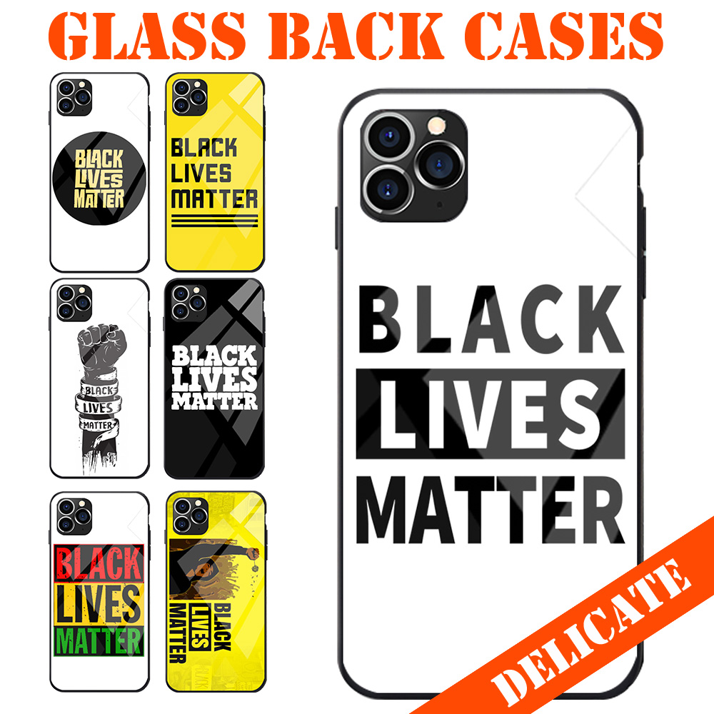 Tempered <font><b>Glass</b></font> Back Phone Case For <font><b>Samsung</b></font> A20 50 70 M20 30 S7 S8 S9 S10 LITE Edge PLUS NOTE Galaxy Black Lives Matter Theme image
