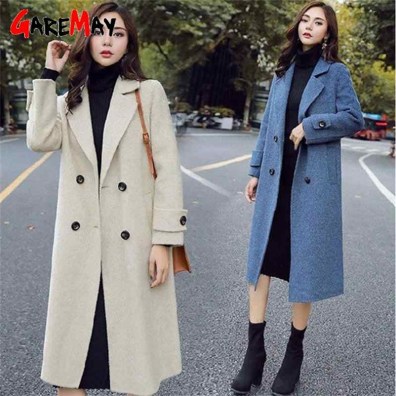 Zimowy wełniany płaszcz i kurtka damska Plus rozmiar koreański długi płaszcz ciepły podwójny łuszcz elegancki wełniany płaszcz kaszmirowy płaszcz w stylu Vintage Cape
