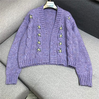 Luxury Brand Designer Knitted Sweater for Women Vintage V Neck Hand Crochet Embroidery Purple Knitted Sweater Cardigan