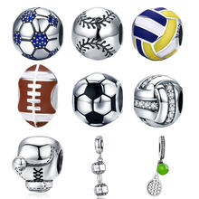 BISAER authentique 925 argent Sterling ballon de Football Sport amour volley-ball ballons de Football breloques ajustement argent perles bijoux à bricoler soi-même fabrication(China)