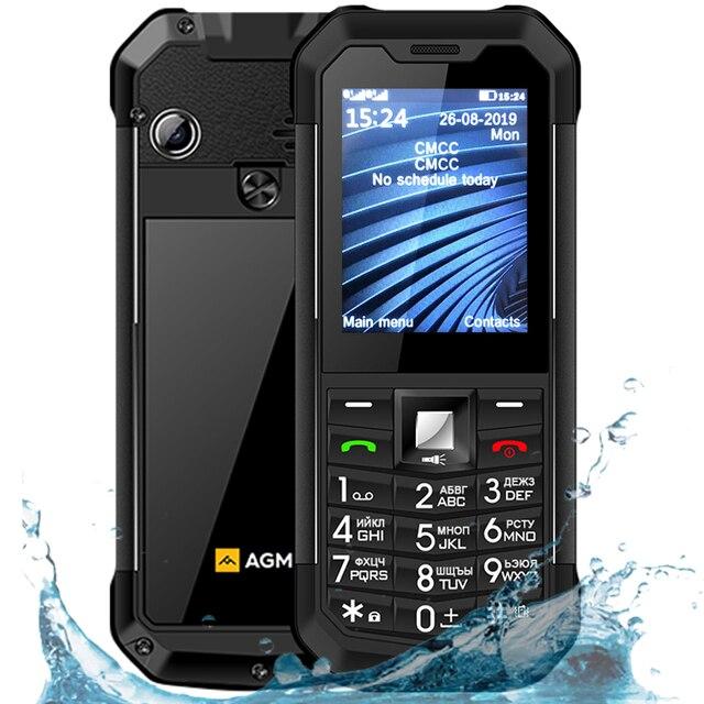 الأصلي AGM M3 IP68 مقاوم للماء للصدمات هاتف محمول وعر لوحة مفاتيح روسية FM المزدوج سيم 1970mAh فتح GSM في الهواء الطلق الهاتف المحمول