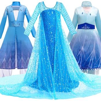 Girls Elsa Princess Dress Kids Flower Costume Set Snow Queen 2 Elza Children Birthday Halloween Party Fancy Cosplay Anna Dress 1