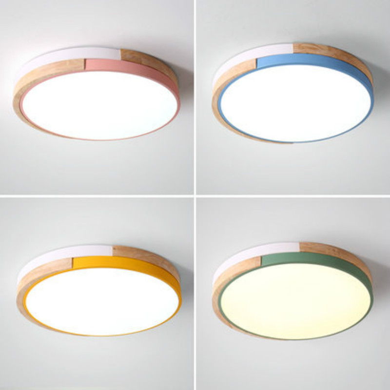 220V LED Ceiling Lights Modern Round Ceiling Mounted Wood Lamps For Bedroom Wooden Kitchen Luminaire Colorful Rooms Lamp