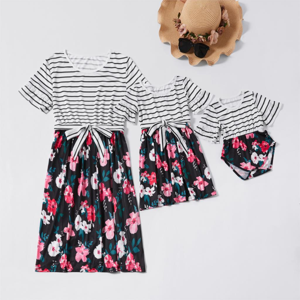 Striped Flower Dress Mother Daughter Dresses Family Look Mommy And Me Matching Clothes Outfits Mom Mum & Baby Women Girls Dress