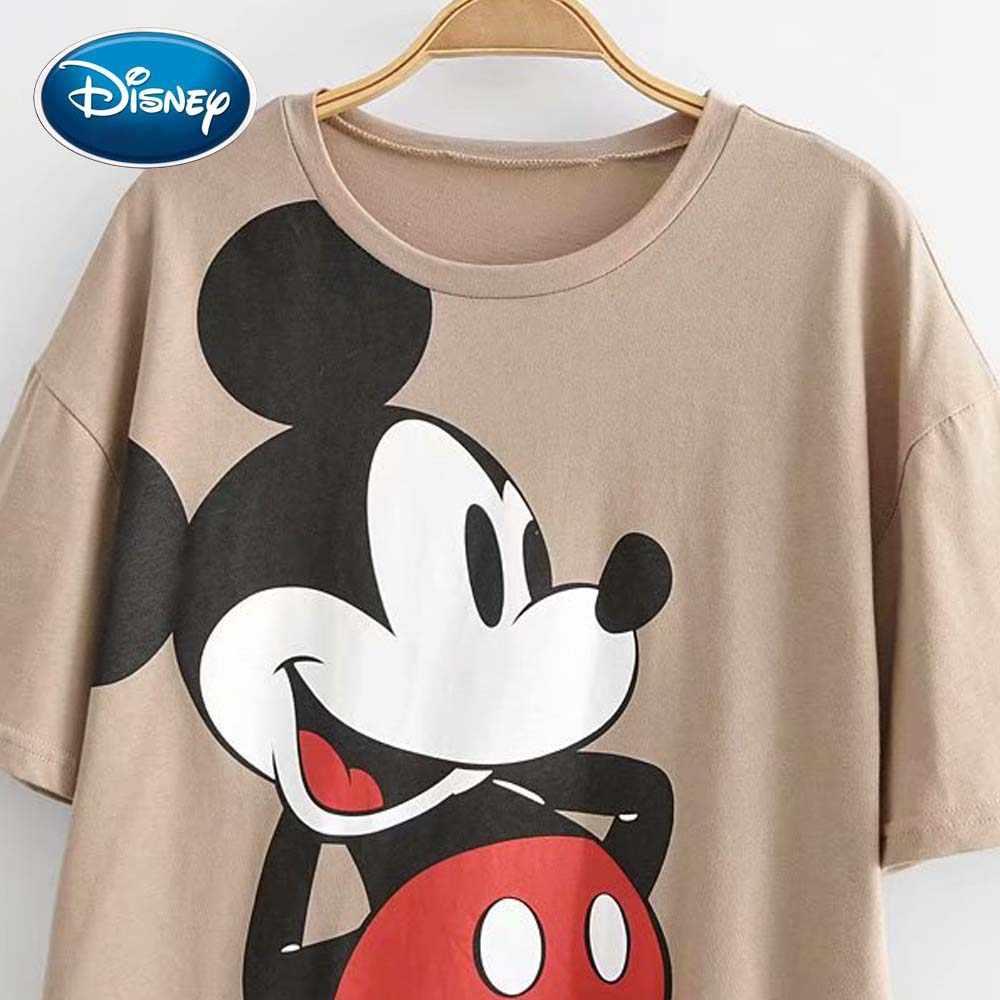 Disney bonito mickey mouse impressão dos desenhos animados chique camiseta o-pescoço pulôver manga curta casual moda feminina solta camiseta caqui