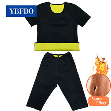 Ybfdo mulheres cintura trainer superior + colete + calça suor sauna ternos corpo emagrecimento camisa espartilho neoprene sauna shapewear