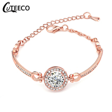 Cuteeco Fashion Rose Gold Crystal Chain Bracelets & Bangles For Women AAA CZ Zircon Bridal Wedding Jewelry Bracelet Femme Gift boako luxury crystal bracelet for women wedding gift korean rose gold chain friendship bracelets jewelry bracelet femme