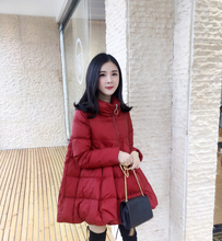 Winter women's Down jacket plus size skirt jacket black red navy blue stand-up collar warm fashion street clothes