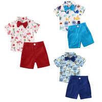 1-5Y, conjunto de ropa Formal para niños y bebés, conjunto de ropa con estampado de animales, camisa + Pantalones cortos, ropa de verano
