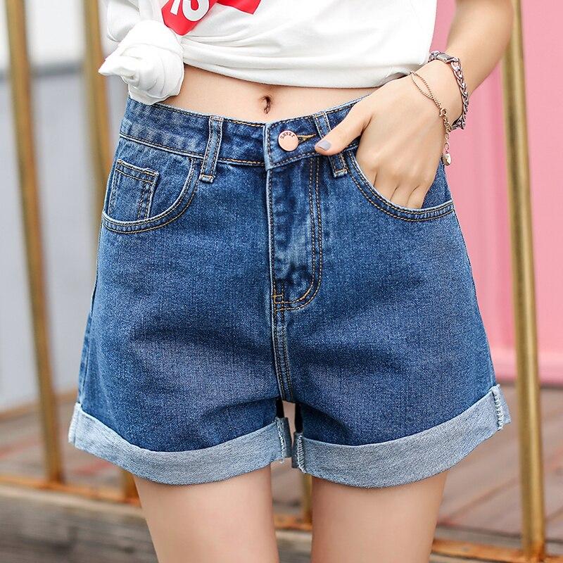 Vintage High Waist Blue Wide Leg Female Jean Shorts Women's Denim Shorts Classic Casual Summer Ladies Shorts Jeans For Women