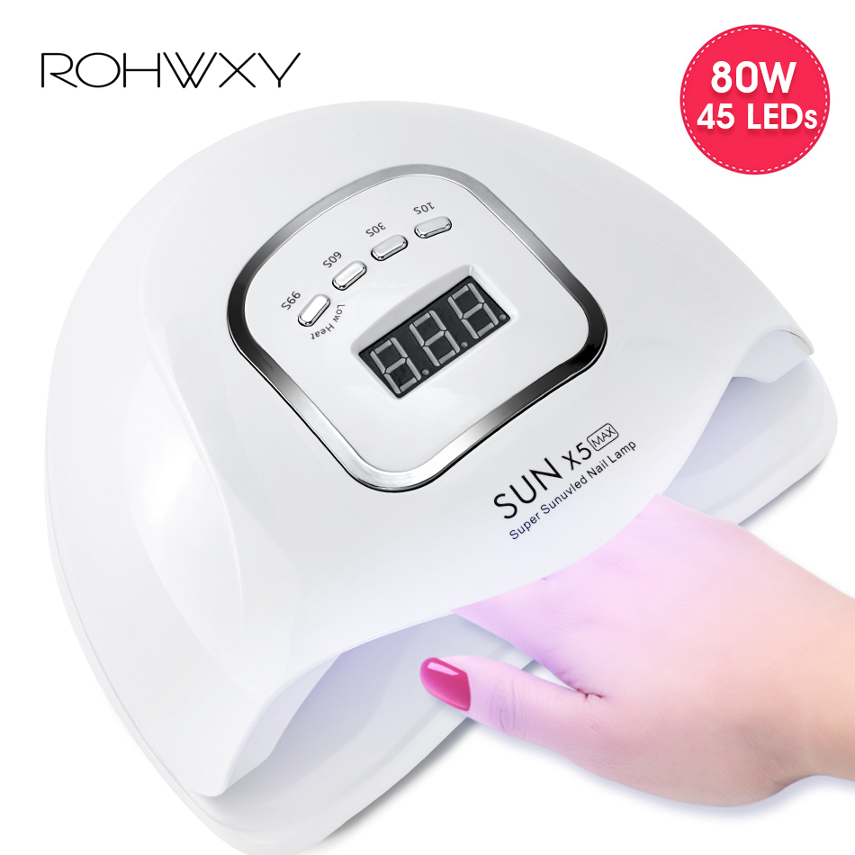 ROHWXY <font><b>80W</b></font> Nail Dryer For Drying All Gel Polish <font><b>UV</b></font> <font><b>LED</b></font> Nail <font><b>Lamp</b></font> With LCD Display 45 PCS <font><b>LEDs</b></font> Ice <font><b>Lamp</b></font> For DIY Manicure Tools image