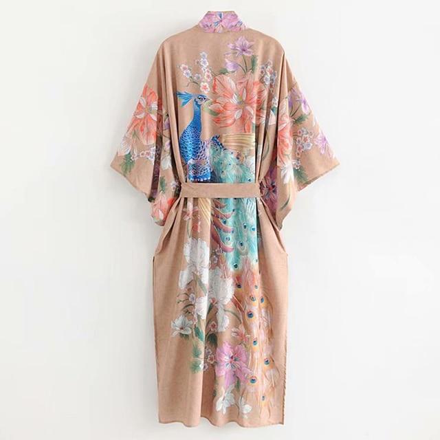 AYUALIN Kimono sleeve robe Kaftan Khaki Floral print Boho cardigan sexy Side Slits Gypsy beach summer long women blouses blusas 3