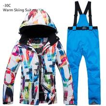 цена на New Thick Warm Ski Suit Set Men Waterproof Skiing Snowboard Jacket Pants Suit Women Winter Windproof Male Plus Size 3XL Costumes