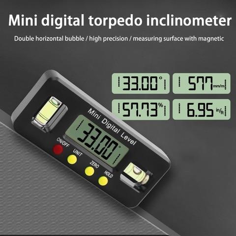Caixa à Prova Digital Transferidor Inclinômetro Nível Dwaterproof Água Ângulo Finder Medida Bisel Caixa Goniômetro Ímã Calibre Régua 100mm