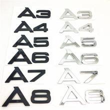 Черные или серебряные A 3 4 5 6 7 8 Автомобильный задний бампер багажник английская алфавитная буква эмблема наклейка значок наклейки автостай...