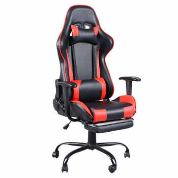 High Back Swivel Chair Racing Gaming Chair Office Chair with Footrest Tier Black & Red LOL Internet Cafes Sports Racing Chair