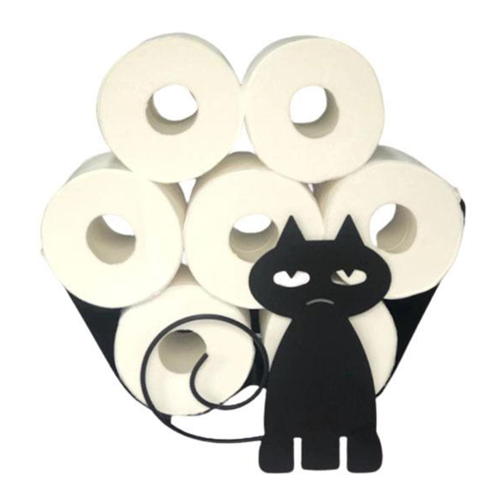 Iron Black Cat Toilet Paper or Towel Holder Storage Rack