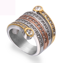 New three color plated finger ring fashion crysta rings jewelry titanium steel for women free shipping