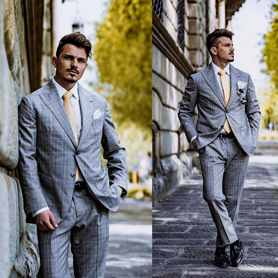 Handsome Mens Suits Polyester Blend 2 Piece (Coat+Pants) Peaked Lapel Costume Homme Business Men Suit Custom Made