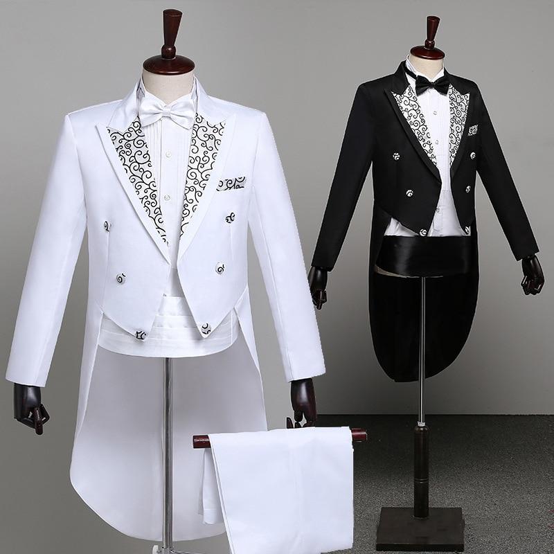 Tuxedo Dress Suits Men Classic Embroidery Shiny Lapel Tail Coat Tuxedo Wedding Groom Stage Singer 2-Piece Suits Dress Coat Tails