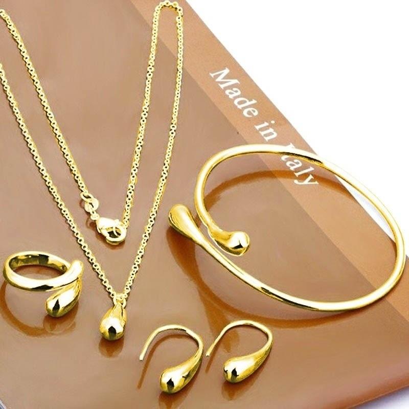 Water Drop Bangles+Necklace+Rings+Earrings Set 2