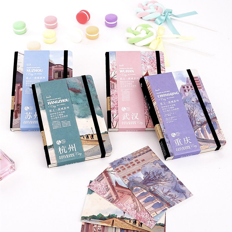 Chinese urban style Planner Agenda A4 blank inner page Notebook and Journal Kawaii Back to School Note Book Travel Handbook